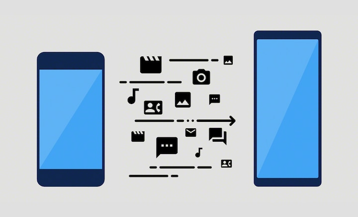 Illustration showing data transfer between a phone and Xperia 1 III