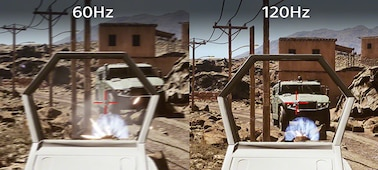 First person shooter gaming scene showing difference in clarity between 60Hz and 120Hz