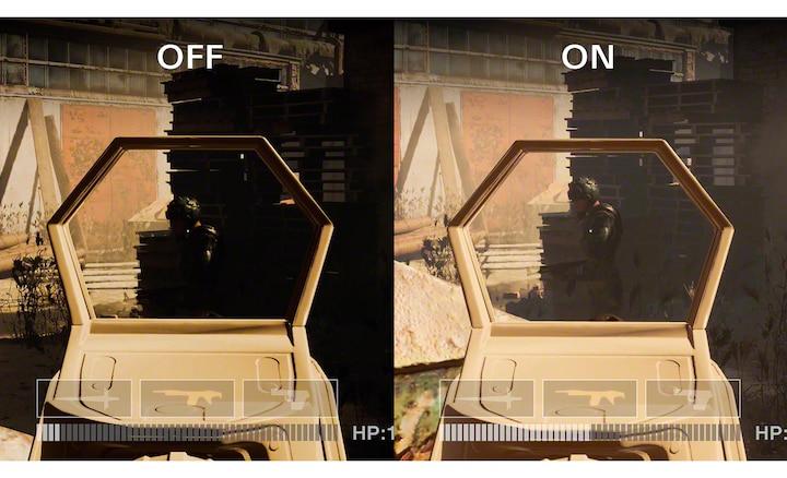 Podzielony obraz przedstawiający tę samą scenę gry z włączonym i wyłączonym podnoszeniem niskiego współczynnika gamma