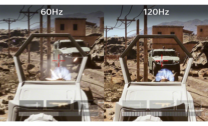 Split screen image of a first person shooter in 60Hz and 120Hz