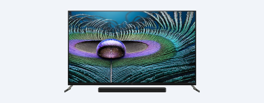 Z9J BRAVIA XR TV front shot with soundbar