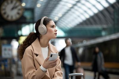 WH-1000XM4 headphones waiting on a platform