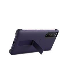 Xperia 1 III with style cover and stand in Frosted Purple,  rear view with stand up