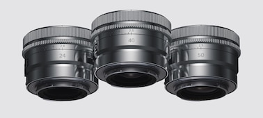 Product image showing metal exterior finish of lens