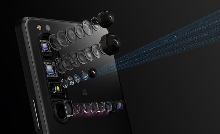 Tył Xperii 1 III przedstawiający różne obiektywy eksplodował, aby pokazać elementy, w tym czujnik 3D iToF