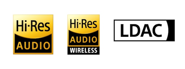 Hi-Res Audio, Hi-Res Audio Wireless, and LDAC logos