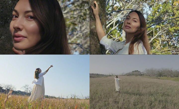 4 zdjęcia kobiety na wsi o ogniskowych 16, 24, 70 i 105 mm.