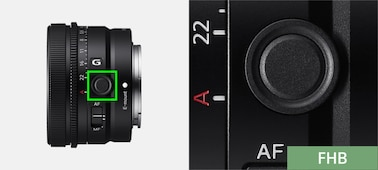 Product image showing position of Focus Hold button on lens
