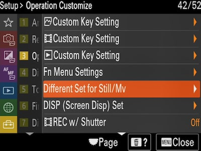 "Set-up ""Operation Customize"" menu with cursor on ""Different Set for Still/MV"""