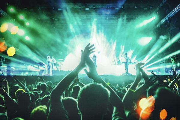 Image of people dancing at a music concert.