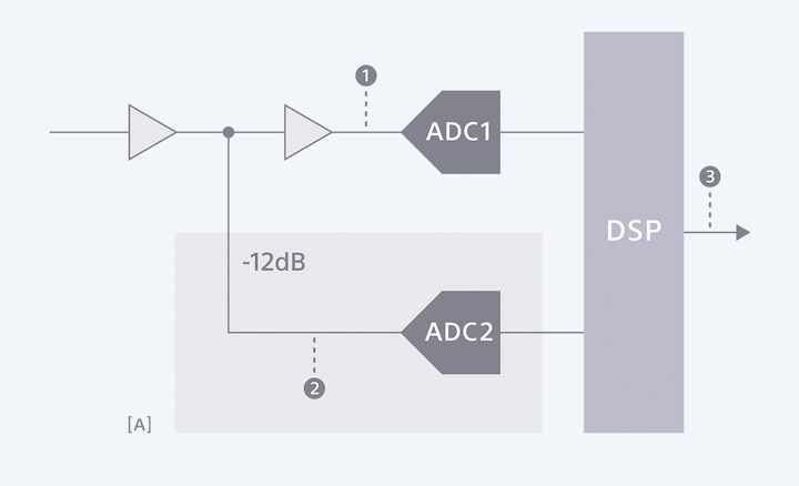 Diagram showing how the PCM-D10's Digital Limiter captures a back-up recording at as much as -12dB