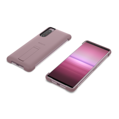 Style cover with stand for Xperia 5 II in pink, front and back