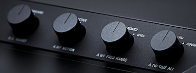 Close-up of sound tuning controls.