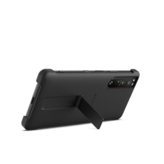 Xperia 1 III with style cover and stand in Frosted Black, rear view with stand up