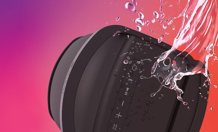 Image of the XP500 X-Series Portable Speaker with splashes of water to showcase the water resistance.