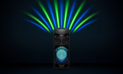 Green and blue party and speaker lights