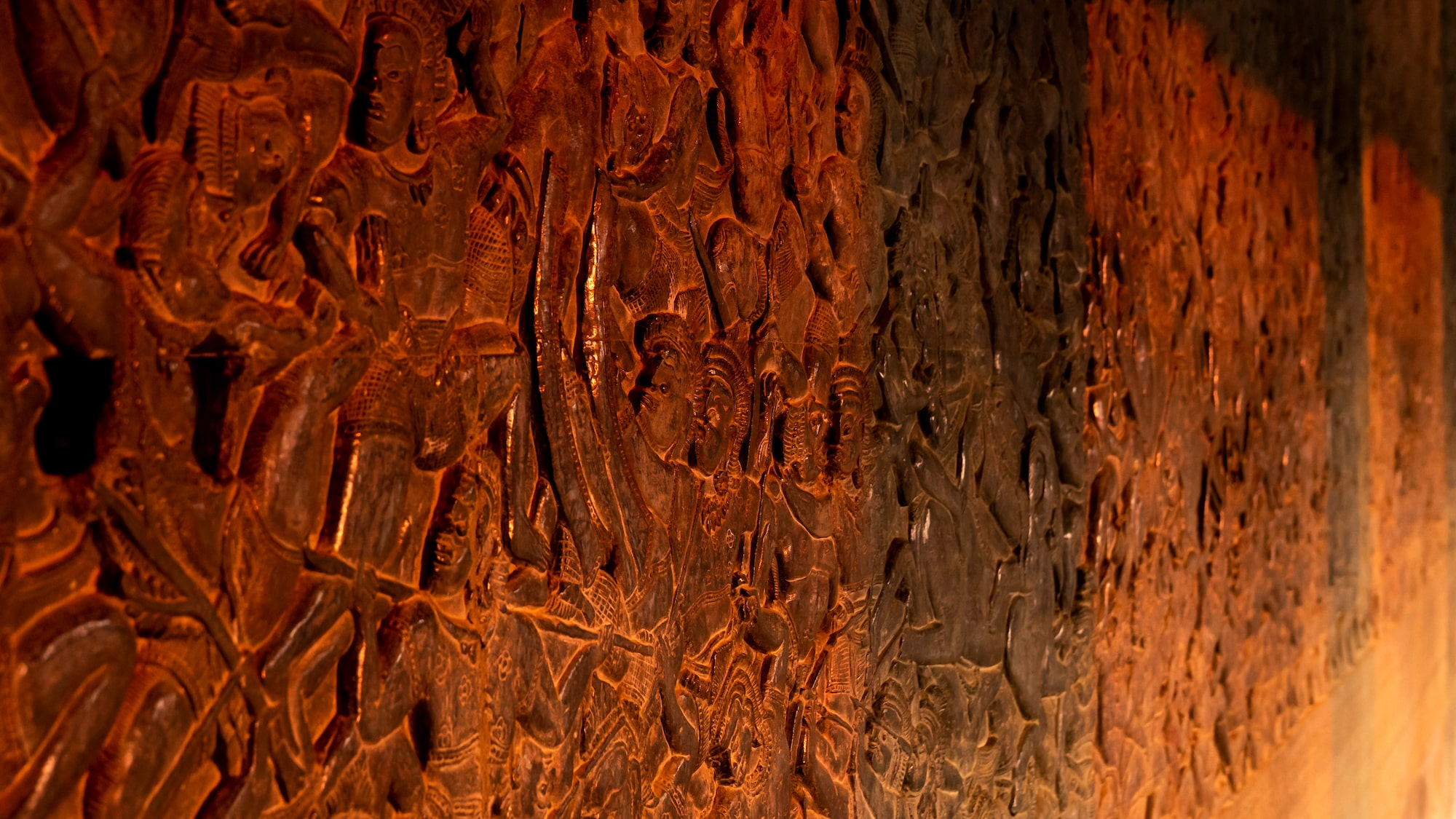 Evening red on Bas-Relief in Angkor Wat