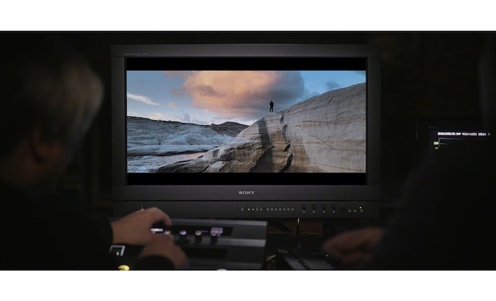 Professional monitor showing a movie scene being remastered