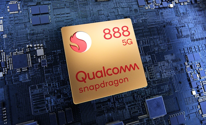 Qualcomm Snapdragon 888 5G chip on a circuit board