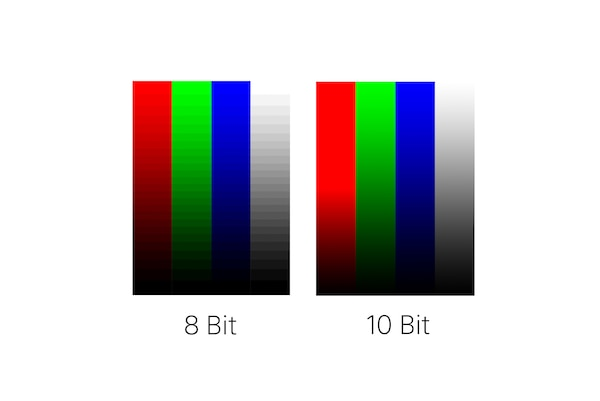 8 bit vs 10 bit colour comparison
