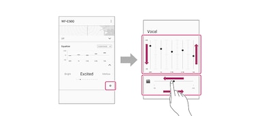 Illustration showing how to customise sound using the EQ feature on the Sony Headphones Connect app
