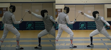 Images illustrating anti-flicker shooting, with fencers shot (left) without and (right) with anti-flicker shooting