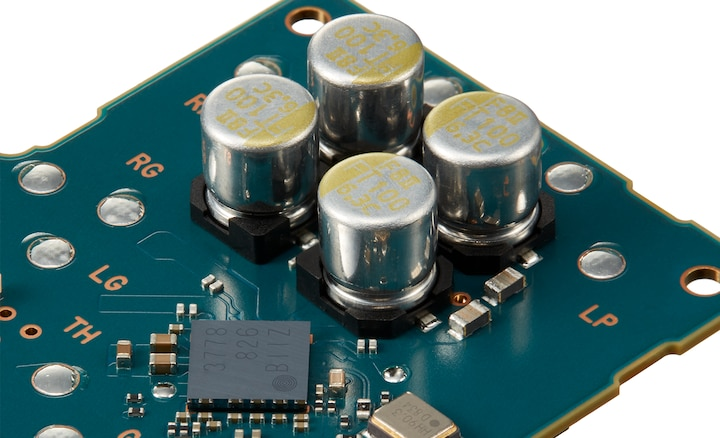 Close-up of circuit board showing FT CAP