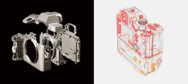 Left:Image showing exploded view of magnesium-alloy covers and internal frame Right: Diagram showing dust- and moisture-resistant construction