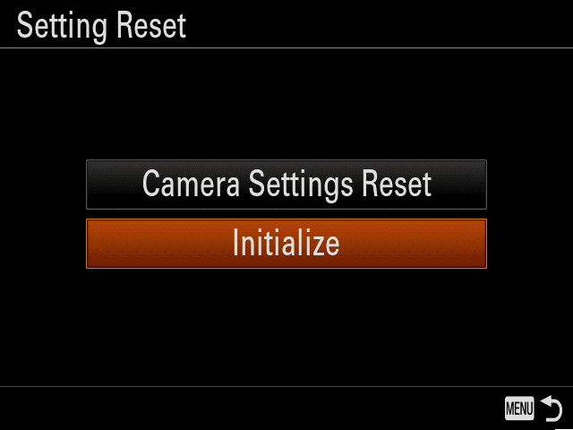 How to reset or initialize a camera back to original factory
