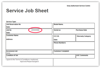 service job card template - sony repair status how to find repair reference